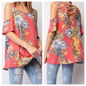 2 for $40❤️tropical print floral off shoulder top